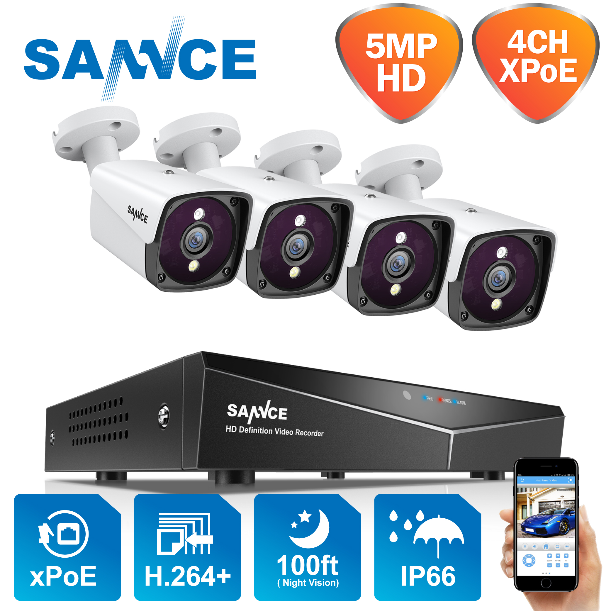 SANNCE 4CH 5MP POE Video Security System 5MP Outdoor Weatherproof Infrared Night Vision IP Camera Wireless Surveillance CCTV Kit image
