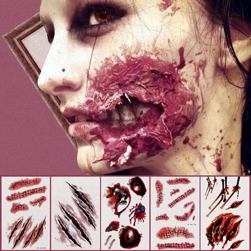5pcs/lot Waterproof Temporary Halloween Tattoo Sticker Old School Body Face Vampire Temporary Tattoos Fake Tattoos Sticker For Men Women Seller Random Delivery