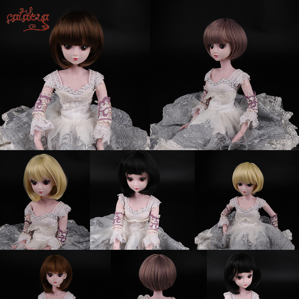 Cataleya BJD Wig 1/3 1/4 Short Black Straight And Curly Bangs Hair High Temperature Fiber For Doll Free Shipping