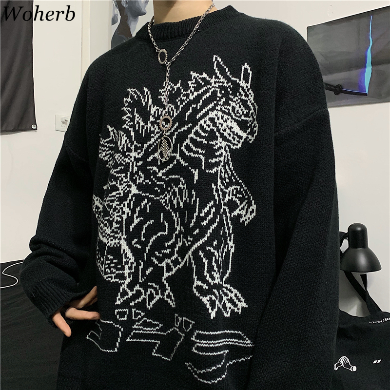 Woherb Vintage Loose Pullover Sweater Women Long Sleeve Dinosaur Pattern Knit Tops Jumpers Korean Fashion New Streetwear 91373