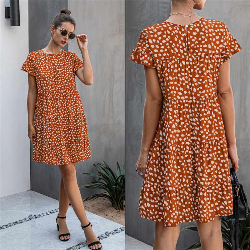 드레스 여자 2020 여름 꽃 표범 인쇄 반팔 캐주얼 루즈 드레스 블랙 미니 짧은 Sundress 비치 T 셔츠 드레스