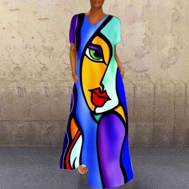 Blue A-Line Short sleeve print dresses Vintage portrait print V neck long dress Causal Mulitcolor patchwork loose dress 1