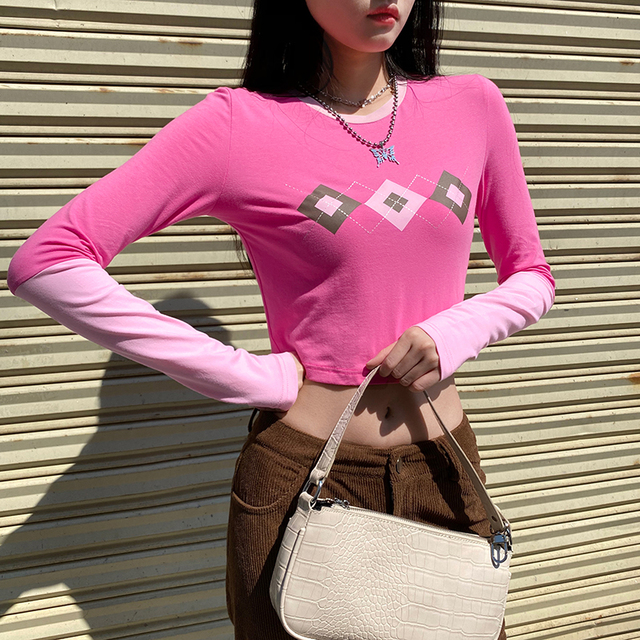 Cropped Top Sweater in pink