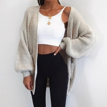 2019 new womens solid color loose sweater in the long cardigan