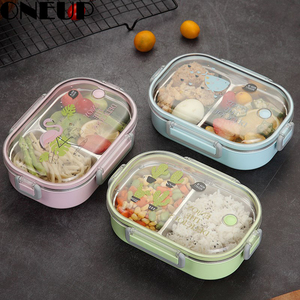 ONEUP Portable Japanese 304 Stainless Steel Lunch Box With Compartments Tableware Bento Box 2019 Lunch Box For Kids Microwavable