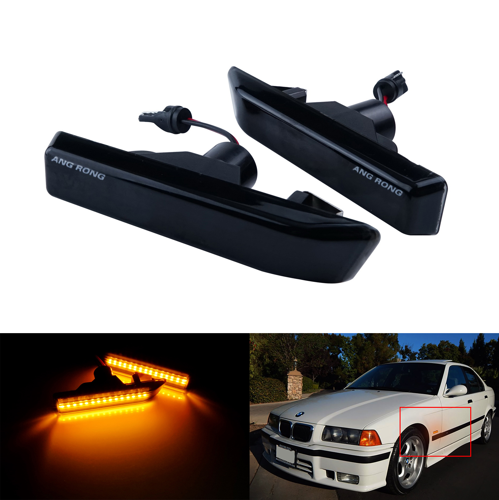 2x Amber <font><b>LED</b></font> Side Marker Indicator Repeater Light For <font><b>BMW</b></font> M3 X5 E53 3 Series <font><b>E36</b></font> image