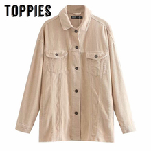 Toppies Vintage Corduroy Jacket Coat Single Breasted Women Loose Oversize Long Coat Solid Color 2019 Autumn Winter Outwear cheap Turn-down Collar Outerwear Coats Streetwear Full REGULAR MSD6038 STANDARD Jackets Polyester Button Autumn 2019