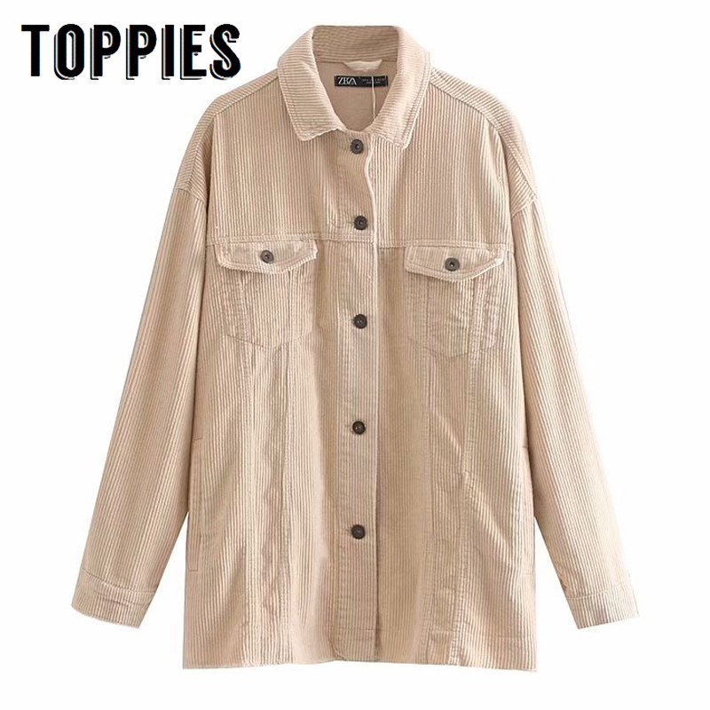 Toppies Vintage Corduroy Jacket Coat Single Breasted Women Loose Oversize Long Coat Solid Color 2019 Autumn Winter Outwear