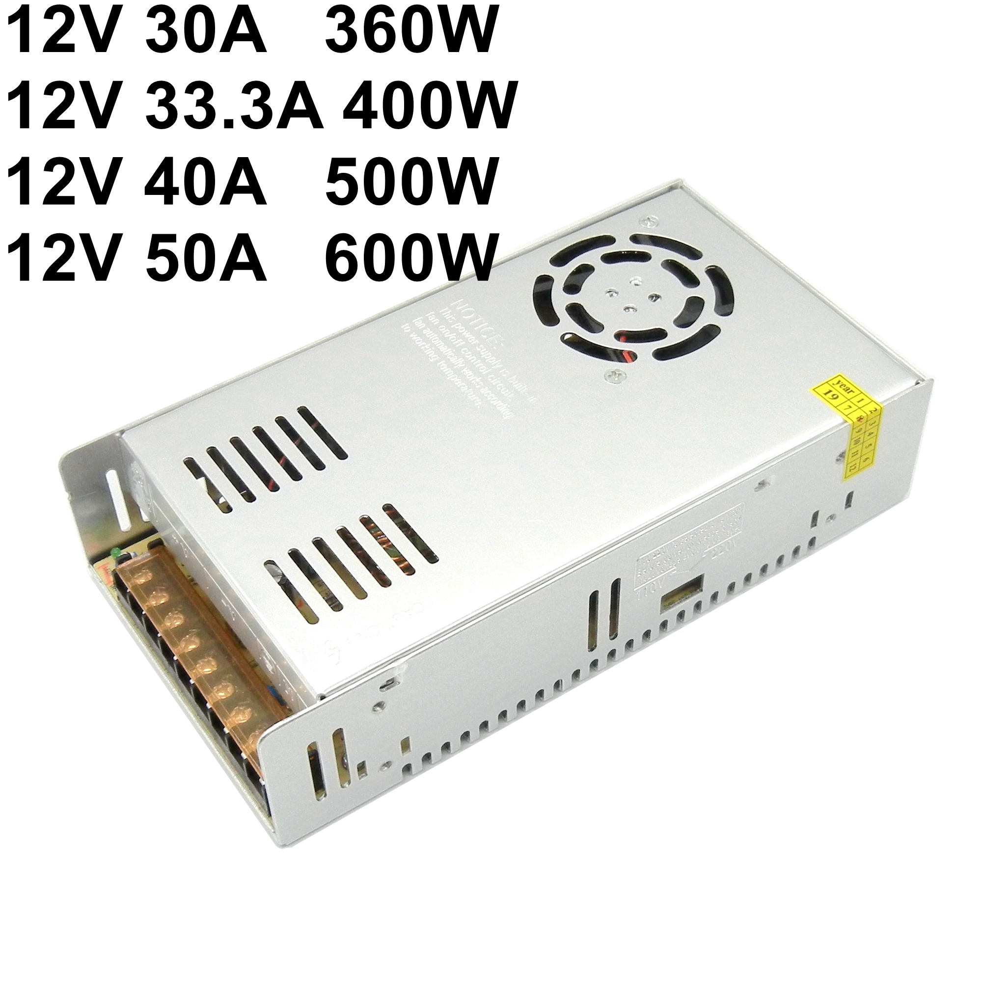 DC 12V 30A 33A 40A 50A Regulated Switching Power Supply 360W 400W 500W 600W Led Strip Driver Transformer 110V 220V AC TO DC SMPS image