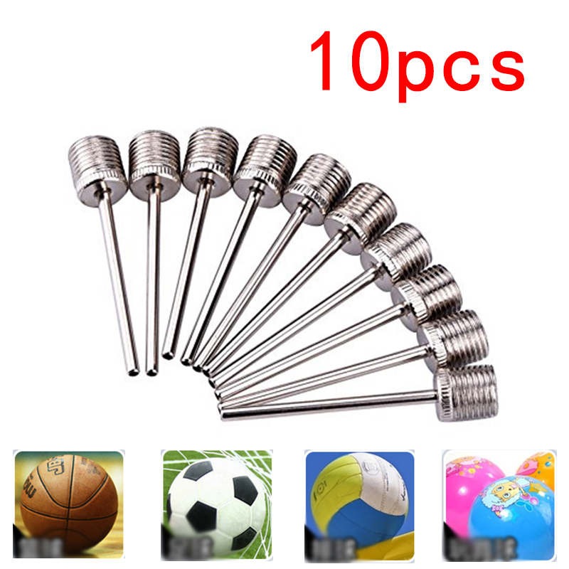 10pcs Sports Balls Standard Inflating Kit Ball Air Pump Needles For Basketballs Volleyballs Footballs Stainless Steel Pump Pin