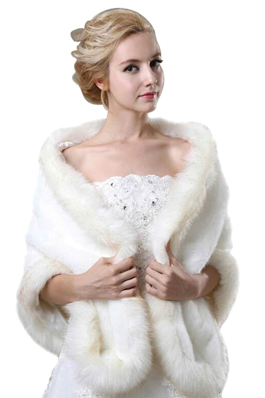 לבן שחור בורגונדי כלה חתונת קייפ גנב פו פרווה צעיף לעטוף גלימת נשים בולרו משיכת הכתפיים מעיל אביזרי חתונה