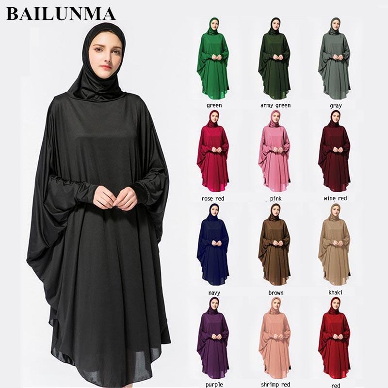 Wholesale Abaya Dubai Muslim Dress Long Hijab Dress Djelaba Femme Prayer Clothes Hijab Caps  Hoofddoek Black M-xxl