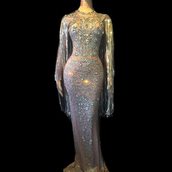 Female Fashion Luxury Full Rhinestone Tassels Floor Length Dress Womens Slim Long Sleeves Party Prom Women Singer Clothes