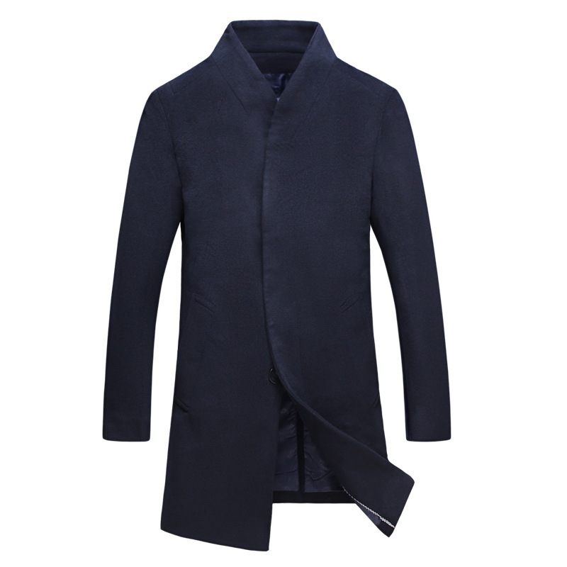 Men Coat Male Jacket Blazer Fashion Winter Stand Collar Cardigan Casual