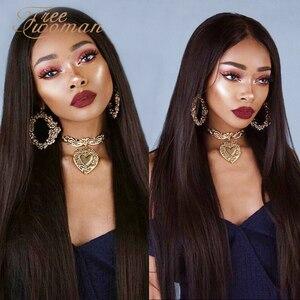 Peluca con malla frontal sintética recta negra y Natural de FREEWOMAN, extensión de cabello falso, pelucas de encaje para mujeres, cabello rubio degradado, cabello falso negro