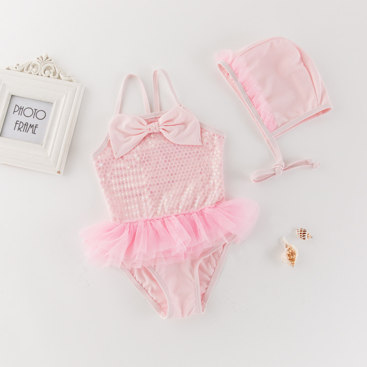 Korean-style KID'S Swimwear Girls Siamese Swimsuit Sequin Lace Mesh Dress Swimwear Holiday Hot Springs Tour Bathing Suit