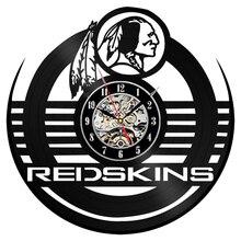 Reloj de pared de vinilo Redskins DISEÑO DE Modrn equipo de fútbol americano Vintage vinilo CD relojes reloj de pared decoración del hogar regalo para los Fans