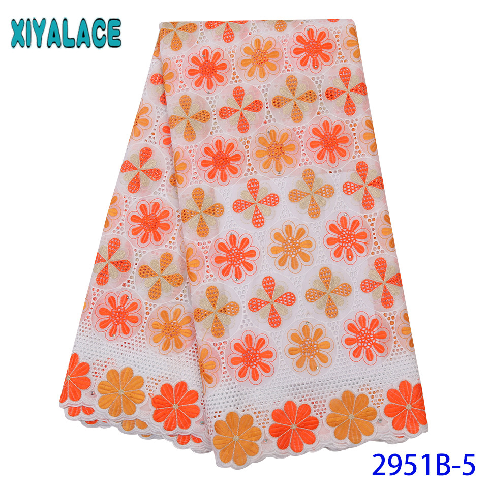 Orange And White Cotton Lace Fabric,2019 Lace Styles Nigeria,High Quality Embroidered Fabrics With Stones For Dresses KS2951B-5