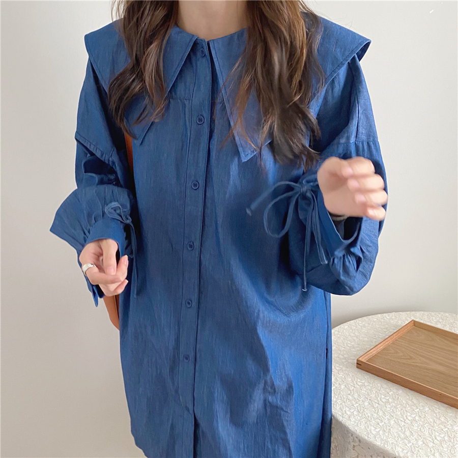 H8b35a757a93e410c9c408009deed2293B - Autumn Korean Big Lapel Collar Long Sleeves Drawstrings Solid Mini Dress