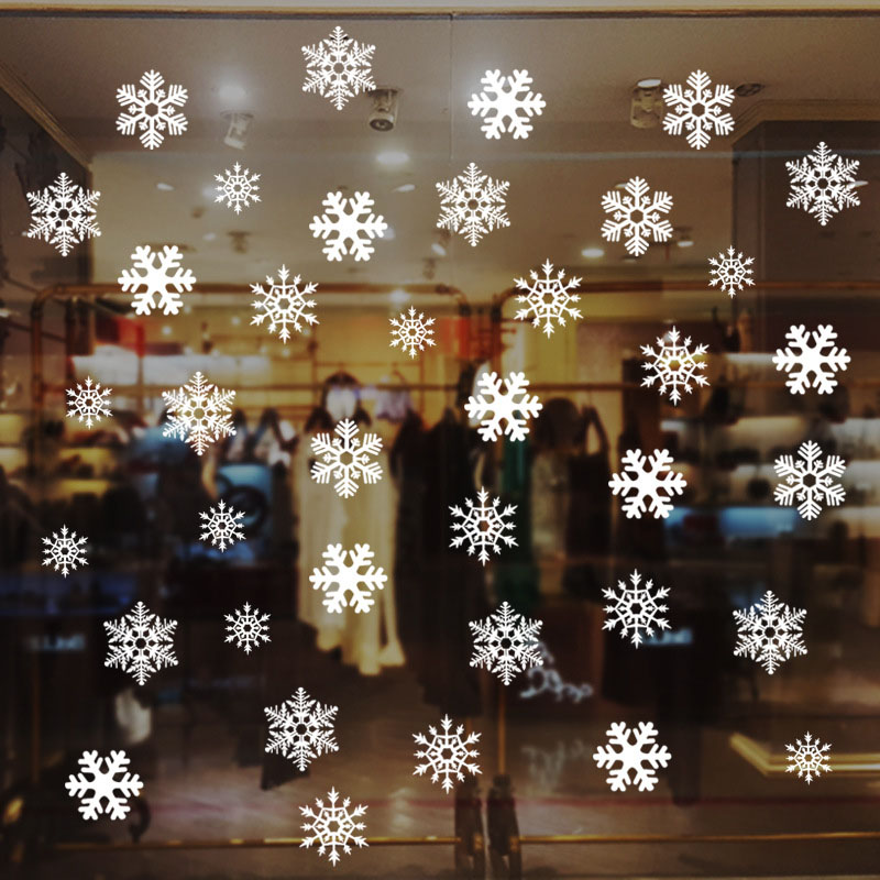 1Set Christmas Snowflake Window Sticker Winter Wall Stickers Kids Room Christmas Decorations For Home New Year Stickers