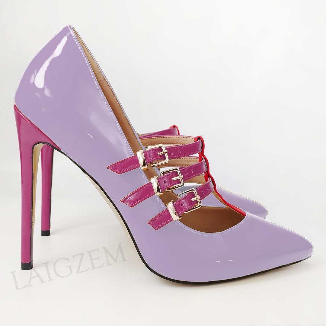 Zapatos De tacón para Mujer LAIGZEM, Zapatos De tacón con tiras en T, Zapatos De tacón para Mujer, Zapatos De fiesta para Mujer, Zapatos De Mujer, tallas grandes 42 45 47 Nuevo Otoño Invierno Retro Punk mujeres Botas moda cuero genuino botines De Mujer Wram Botas Mujer