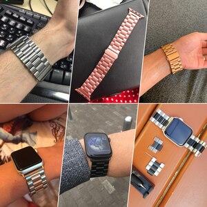 Image 2 - Jansin luxo pulseira de aço inoxidável para apple assistir banda 42mm 38mm 44mm 40mm pulseira banda para iwatch série 6 se 5 4 3
