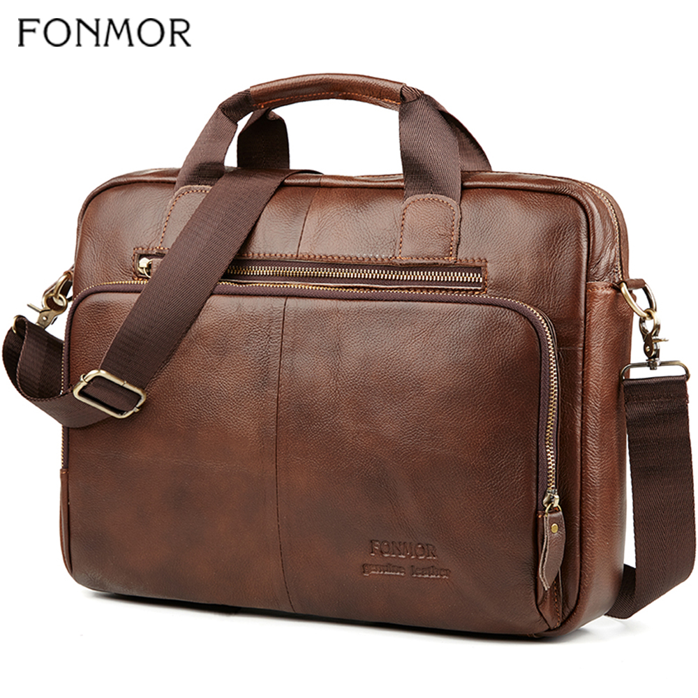 Fonmor Men Genuine Leather Briefcase 15.6''Laptop Messenger Bags Female Business Crossbody Shoulder Bags Casual Tote Handbag New