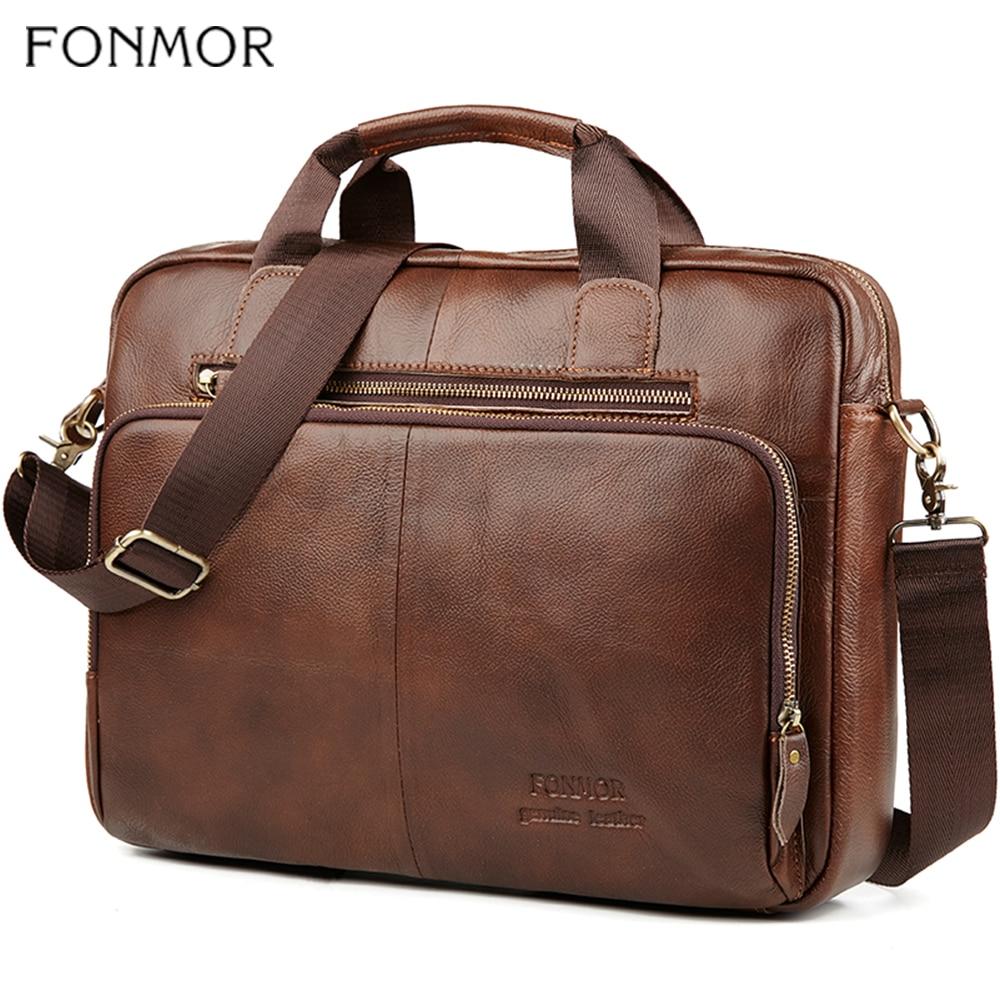 Fonmor Men Genuine Leather Briefcase 15.6''Laptop Messenger Bags Female Business Crossbody Shoulder Bags Casual Tote Handbag New