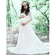 Maternity-Dresses for Photo-Shoot Pregnant-Women Sexy Off-Shoulder Maxi Mermaid