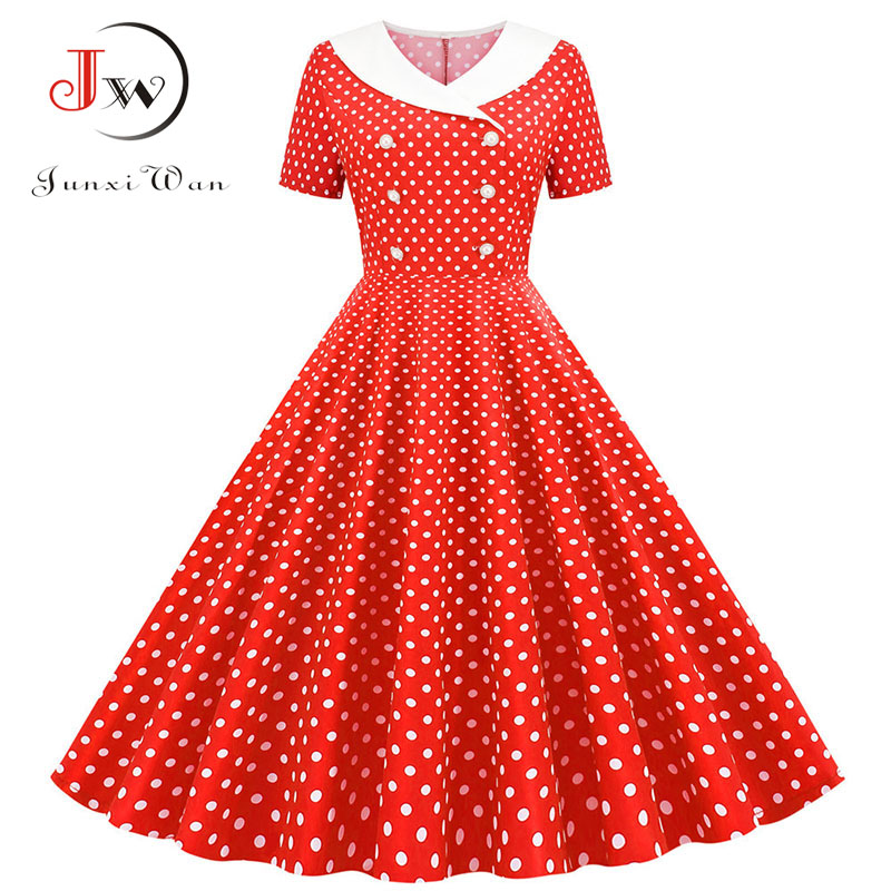 Polka Dot Print Women A-line Summer Dress Red Peter Pan Collar Elegant Vintage Midi Party Dress Casual Vestidos Plus Size Robe