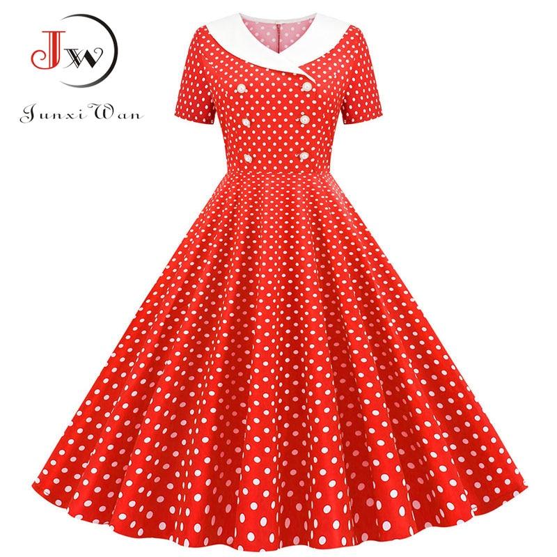 Polka Dot Print Women A-line Summer Dress Red Peter Pan Collar Elegant Vintage Midi Party Dress Casual Vestidos Plus Size Robe
