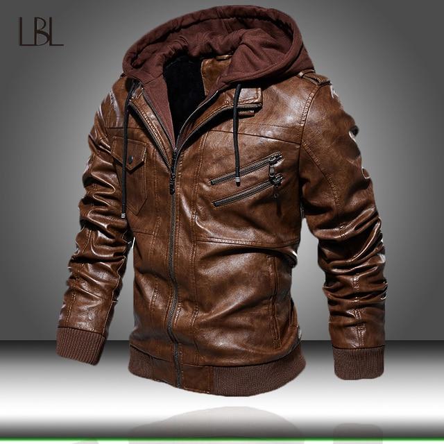 Męskie ze skóry PU kurtka mężczyźni motocykl kaptur płaszcz zimowy człowiek ciepłe skórzane kurtki męskie Slim Fit Bomber wiatrówka