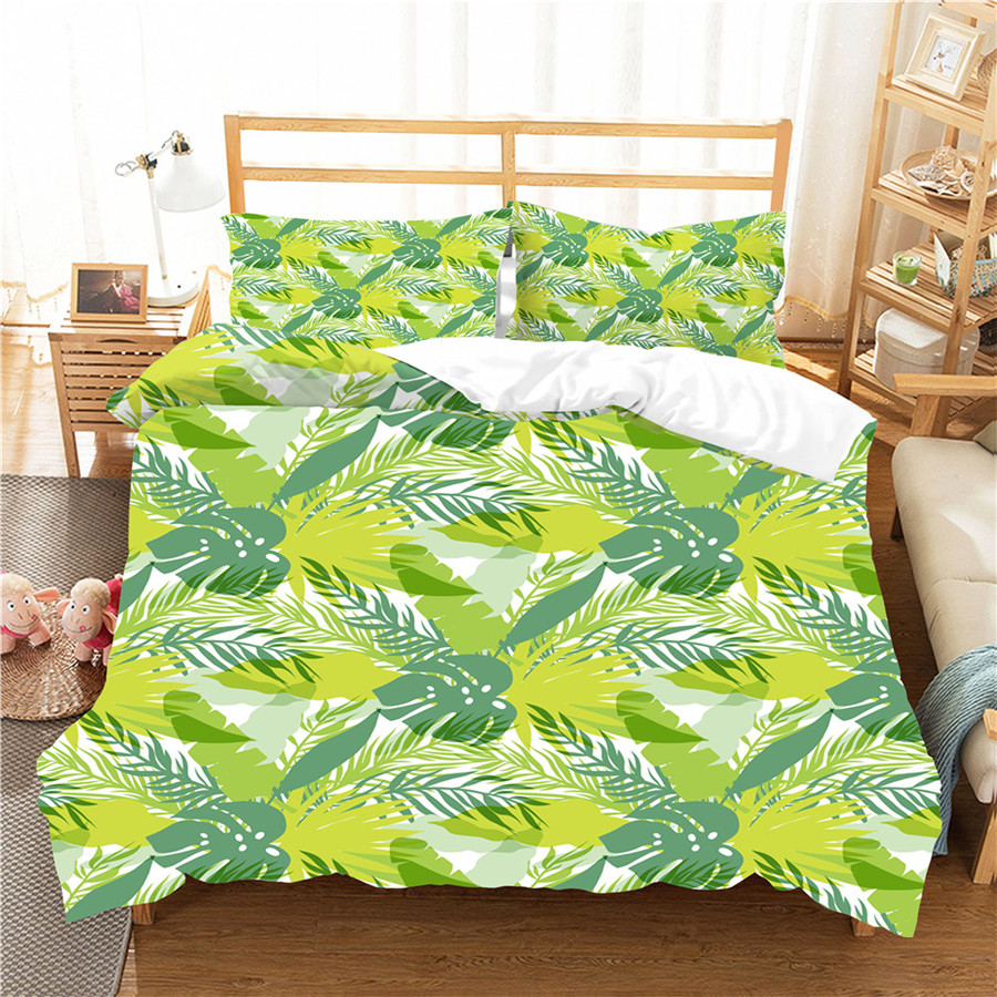 A Bedding Set 3D Printed Duvet Cover Bed Set Tropical Green Plant Home Textiles For Adults Bedclothes With Pillowcase #RDZW32