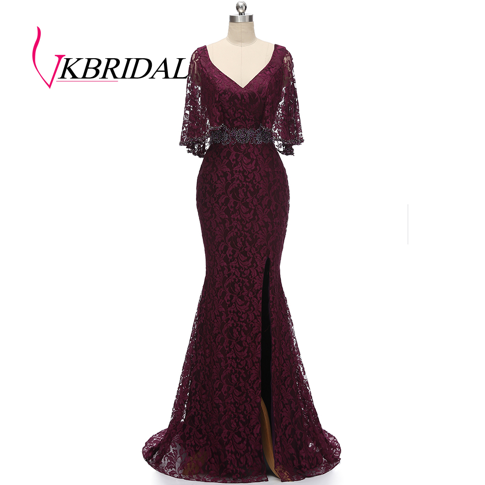 VKBRIDAL V-neck Lace Mother Of The Bridal Dresses Luxury Crystal Mermaid Evening Dress With Slit Long Wedding Guest Formal Gowns