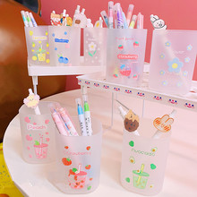 Cute Fruit Flower Transparent Frosted Pen Holder Desk Organizer Students Supplies Plastic Square Pencil Holders Gifts Stationery