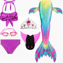 Fancy Mermaid tails with/No Fins  Flipper mermaid swimming tails for Kids Girls Summer Beach Wear Swimsuits