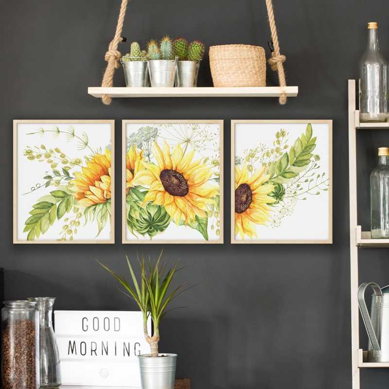Sunflower Wall Art Canvas Posters Nursery Kitchen Farmhouse Decor Watercolor Flowers Art Painting Pictures Home Decoration Painting Calligraphy Aliexpress