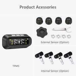 Image 5 - نظام مراقبة ضغط الإطارات للسيارات TPMS يعمل بالطاقة الشمسية مع منفذ USB وشاشة LCD 4 مستشعر يلتصق بالزجاج لسيارة VW Toyota Honda SUV مع تحذير من درجة الحرارة