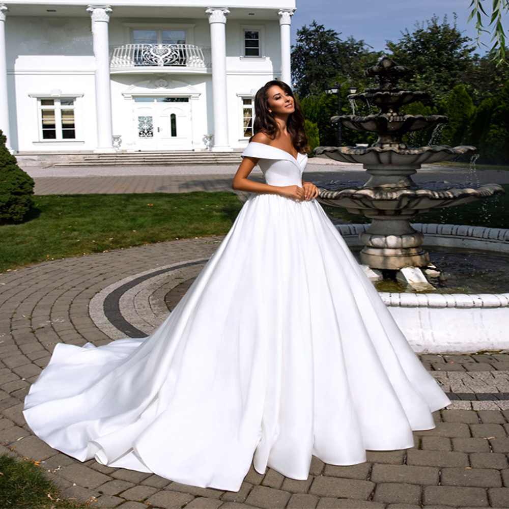 2020 Latest Design Simple White Satin Ball Gown Wedding Dress Vestido De Noiva Off Shoulder Short Sleeve Bridal Gown Custom Size Wedding Dresses Aliexpress