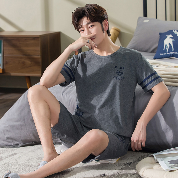 New Style Pajamas Men's Summer Short-sleeved Shorts Teenager Men Summer Thin Style Home Wear Two-Piece Set