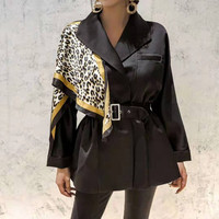Fall Winter New Fashion 2019 Women's Jackets and Coats Full Sleeve Buttons Diamonds Patchwork Print Scarf Black Blazer Outerwear