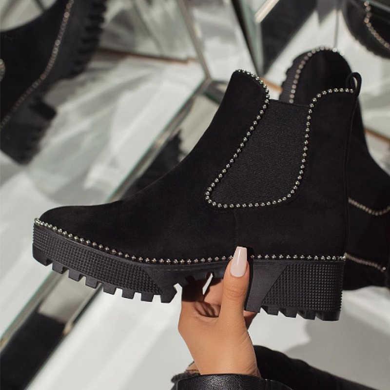 2019 kadın düz topuk çizmeler sonbahar kış ayakkabı moda Faux süet kadın Chelsea çizmeler marka Slip-on kadın ayak bileği Botas siyah