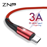 ZNP USB C Cable 3A Fast Charging USB Type C Cables For Samsung S10 S9 Huawei Quick Charging Fast Charger Data Cable USB C Cord