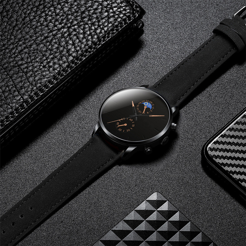 H8b36ae190e4746aeb59af6f46e63443bd Minimalist Fashion Men's Watch Luxury Business Casual Black leather Watches Classic Male Wrist Watch Analog Clock Herren Uhren