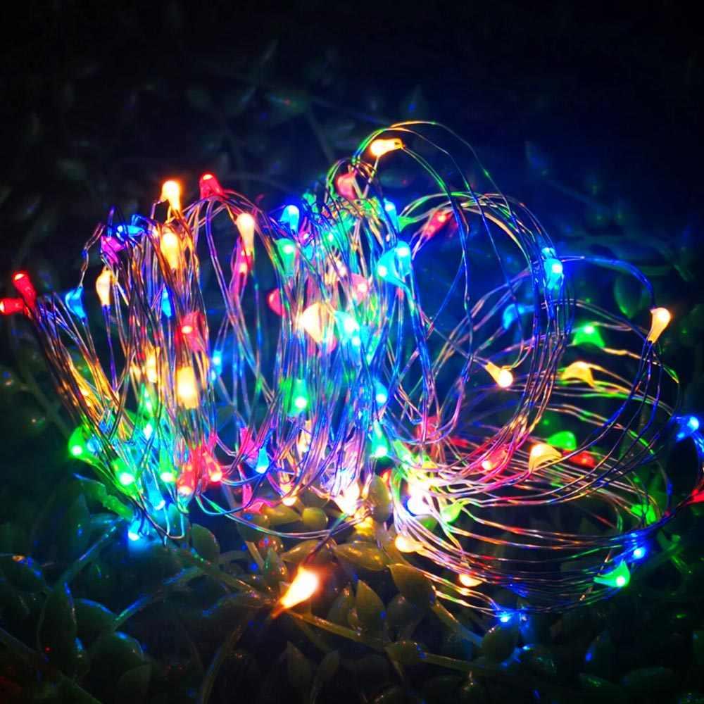 أضواء سلسلة LED 1 متر 2 متر 3 متر 5 متر 10 متر 12 متر سلك الشظية IP65 مقاوم للماء الجنية شجرة عيد الميلاد أضواء في الهواء الطلق عطلة الطرف الديكور