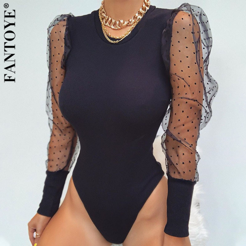FANTOYE New Lace Puff Sleeve Women's Bodysuit Autumn Long Sleeve Polka Dot Vintage Bodycon Jumpsuit Tops Skinny Mesh Bodysuits
