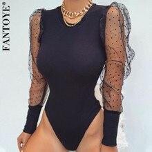 FANTOYE New Lace Puff Sleeve Women's Bodysuit Autumn Long Sleeve Polka Dot Vinta