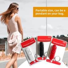 Moda 120db dispositivo anti-estupro alto-falantes duplos alto alerta de alarme ataque pânico segurança pessoal chaveiro saco pingente