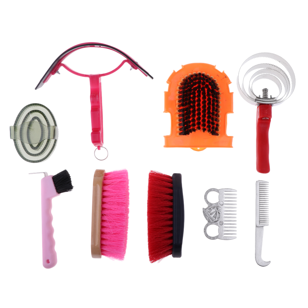9pcs Equestrian Kit Horse Riding Curry Comb Horses Grooming Mane Tail Brush Comb Sweat Scraper