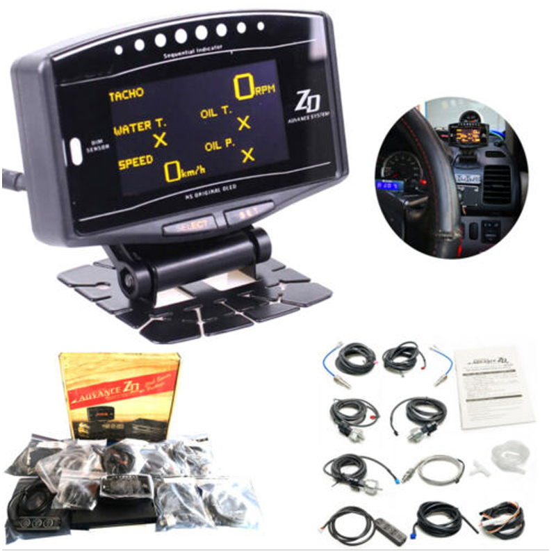 Universal Full Kit Sports Package 10 in 1 BF CR C2 DEFI Advance ZD Link Meter Digital Auto Gauge With Electronic Sensors